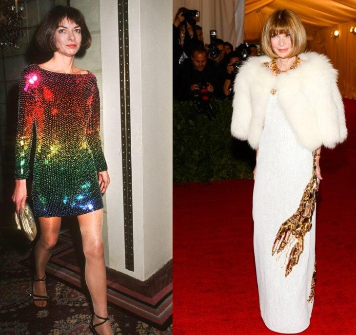 mujer rubia con vestido de colores y abrigo blanco de peluche