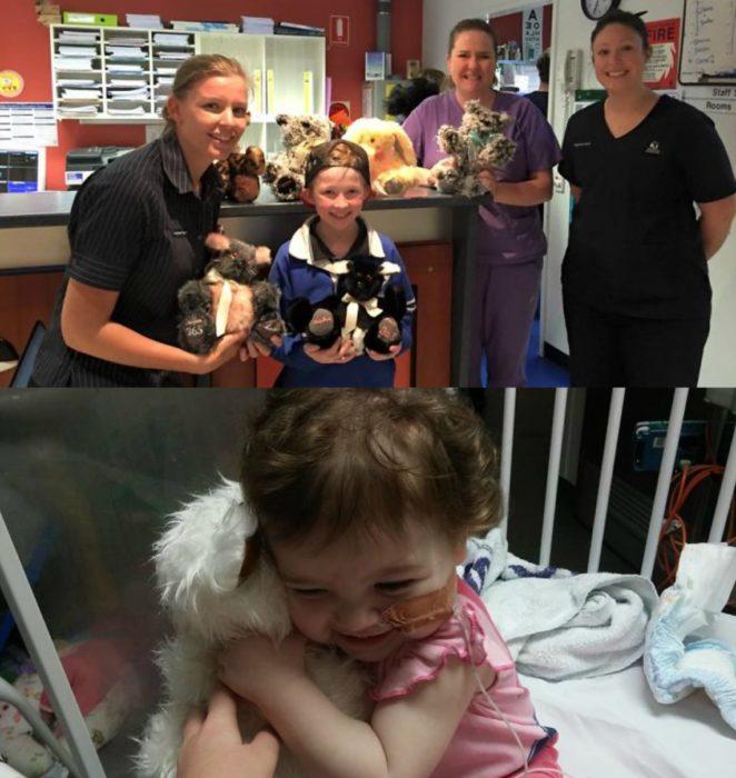niño con muñecos y niña enferma abraza peluche