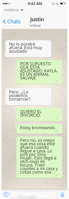 Conversación de whatsapp broma chica a su esposo