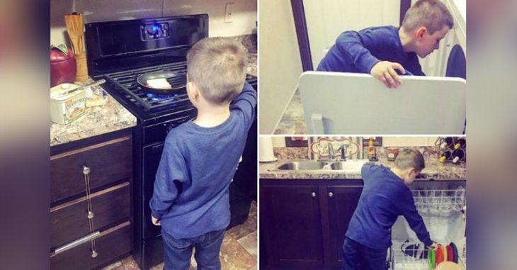 niño rubio haciendo tareas domesticas