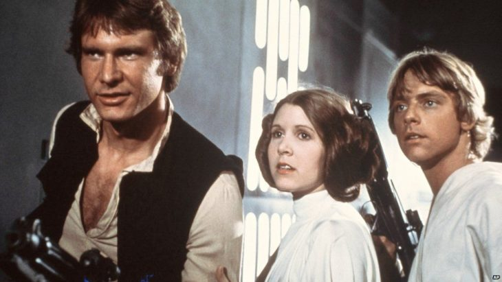 Carrie Fisher, Harrison Ford y Mark Hamill en Star Wars