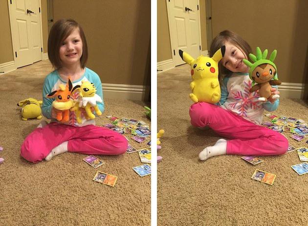 Niña jugando con peluches de Pokémon