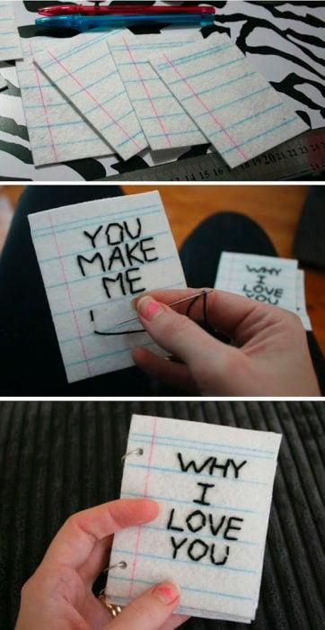 Mini cartas bordadas