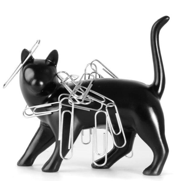 Gato negro con imán para clips