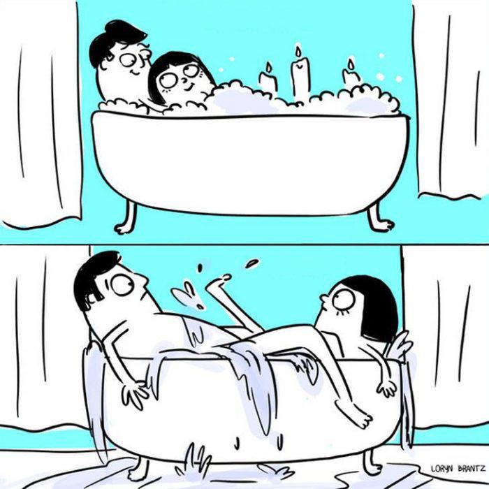 Ilustración de el romanticismo en pareja Antes Vs. después