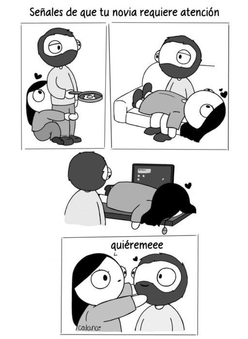 Ilustración de señales de que tu novia requiere atención