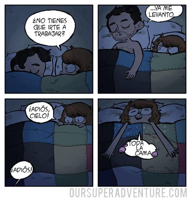 Ilustración de cuando te deja la cama tu novio
