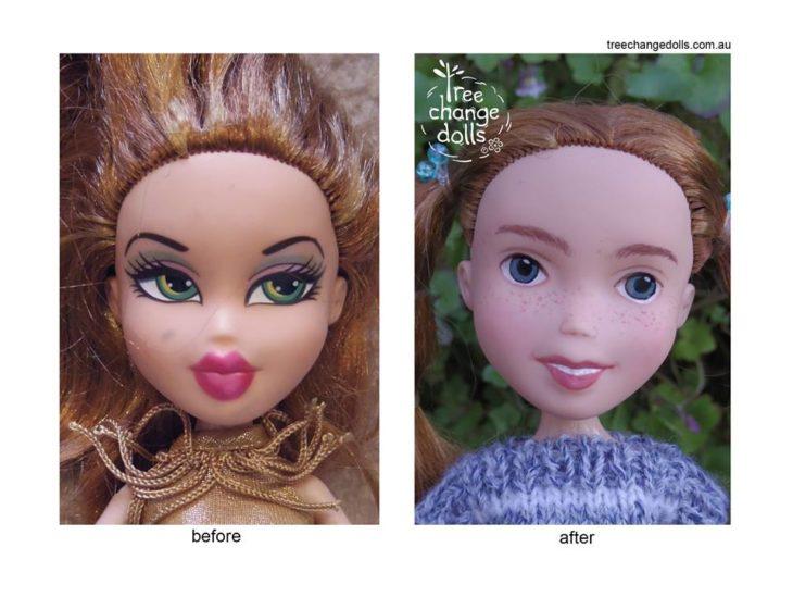 Muñeca rediseñada sin maquillaje