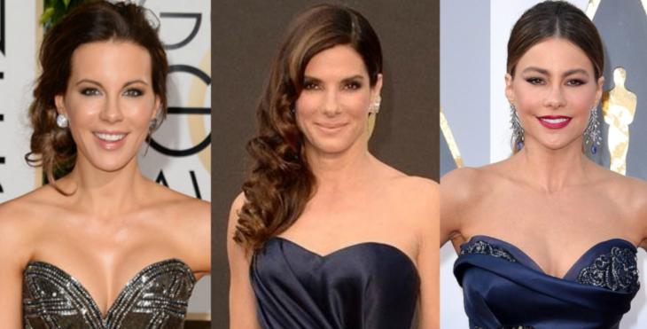 collage de mujeres con escote de corazon y tres peinados diferentes