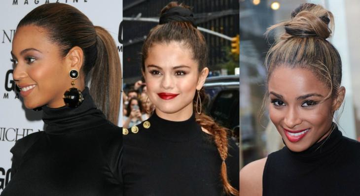collage de mujeres con cuello de tortuga y tres diferentes peinados