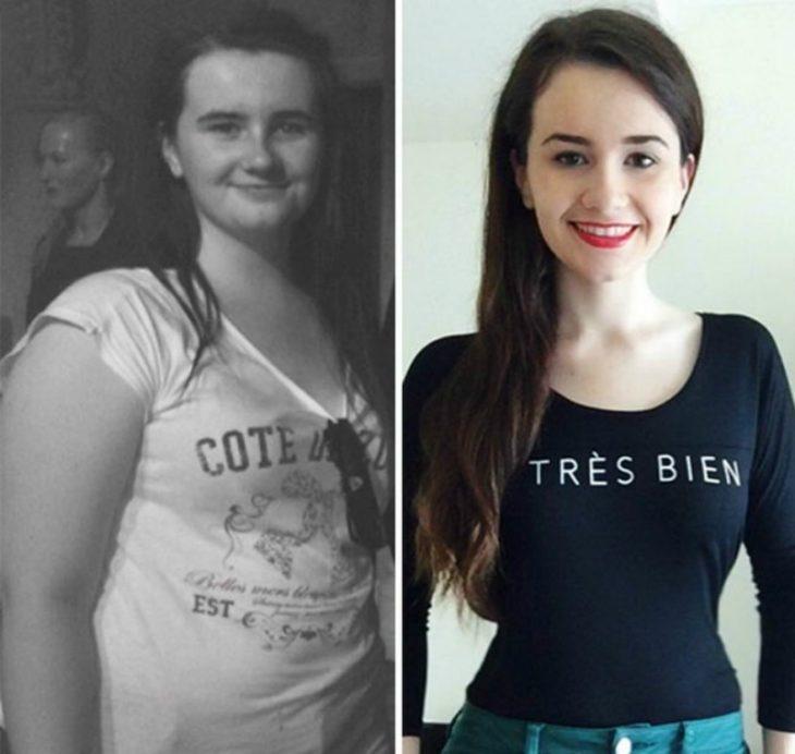 transformacion de mujer con sobrepeso antes y después