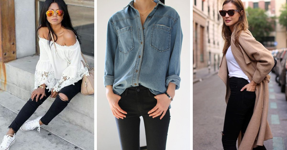 9ce8475628 15 outfits para tus pantalones de mezclilla color negro