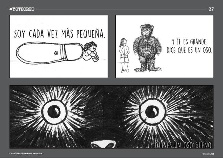 ilustración de oso al lado de muñeca