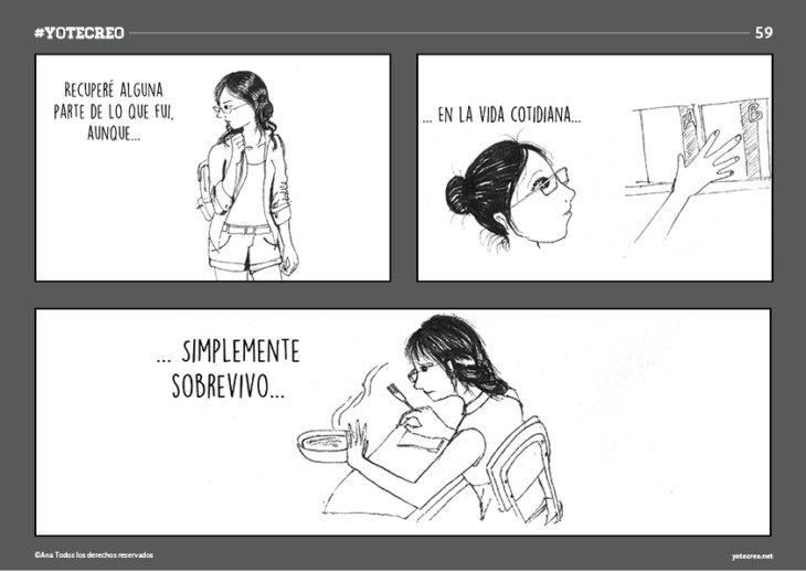 ilustración de mujer sentada comiendo