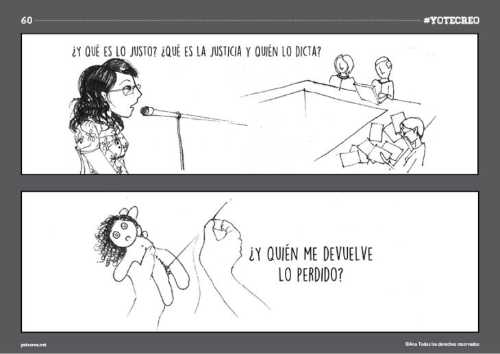 ilustración de mujer hablando en microfono y cosiendo muñeca