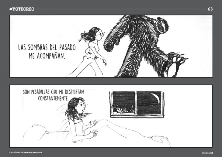 ilustración de chica con pesadilla y oso