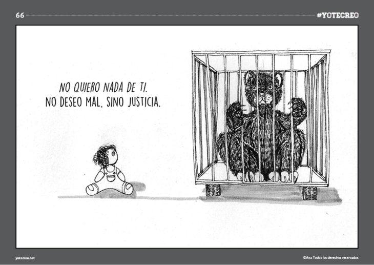 muñeca en el suelo al lado de oso en jaula