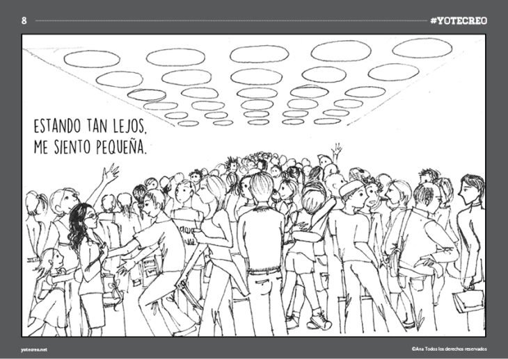 ilustración de mujer en una multitud