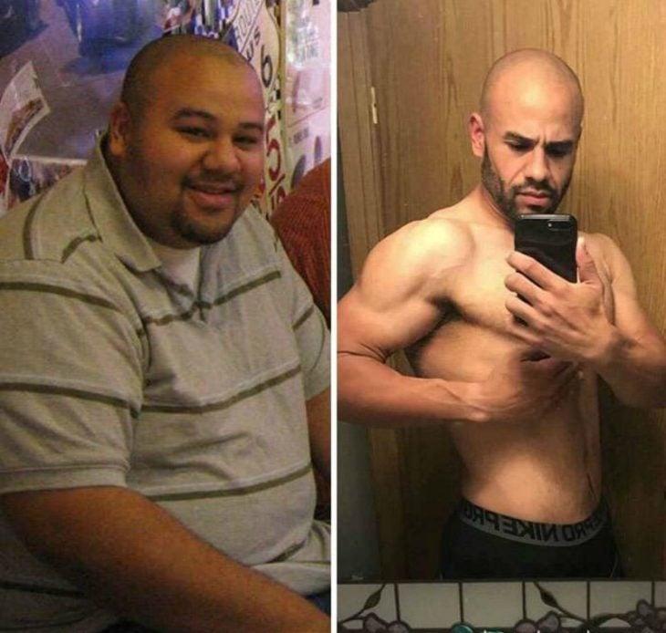 transformacion de hombre con sobrepeso antes y despues