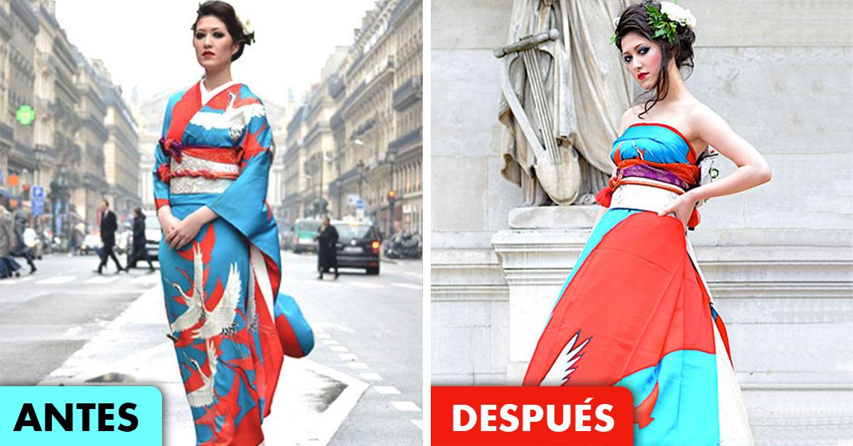 En japón están convirtiendo los kimonos en vestidos extraordinarios