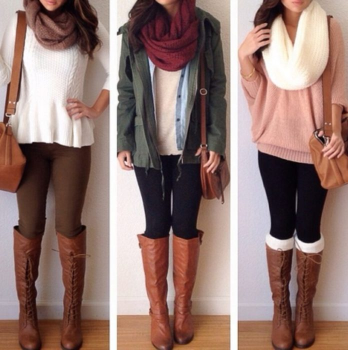 mujer con leggins y botas