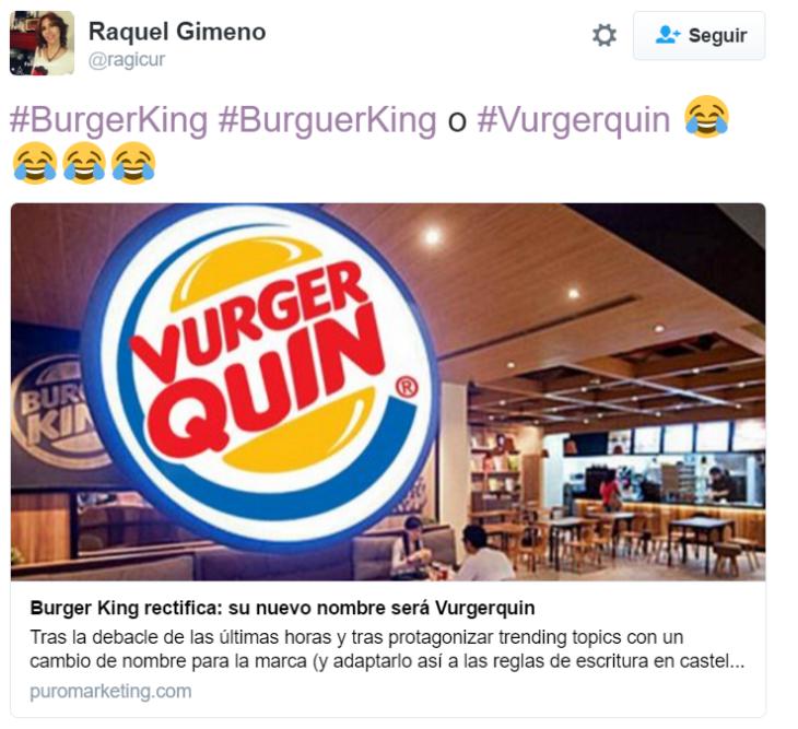 captura de pantalla de twitter con foto de burger king