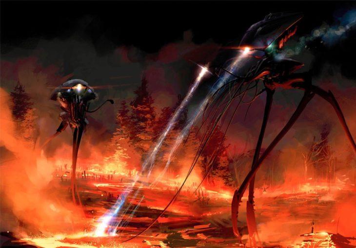 ilustración de aliens con rayos y apocalipsis