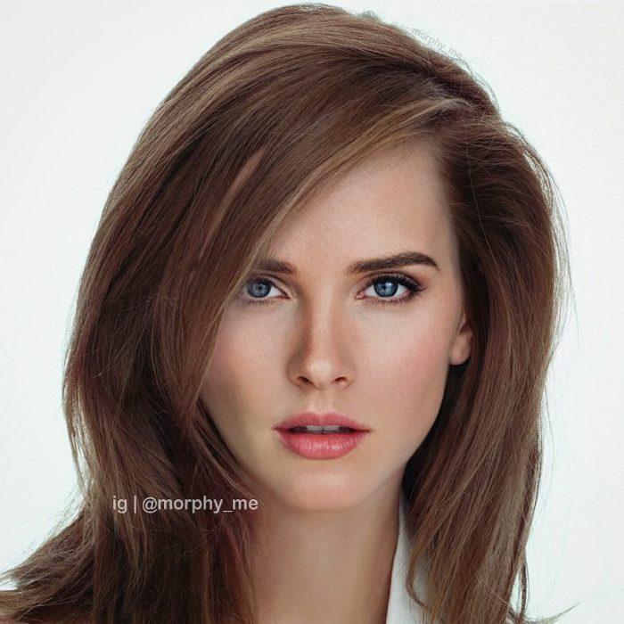 mujer blanca de ojos azules con cabello castaño