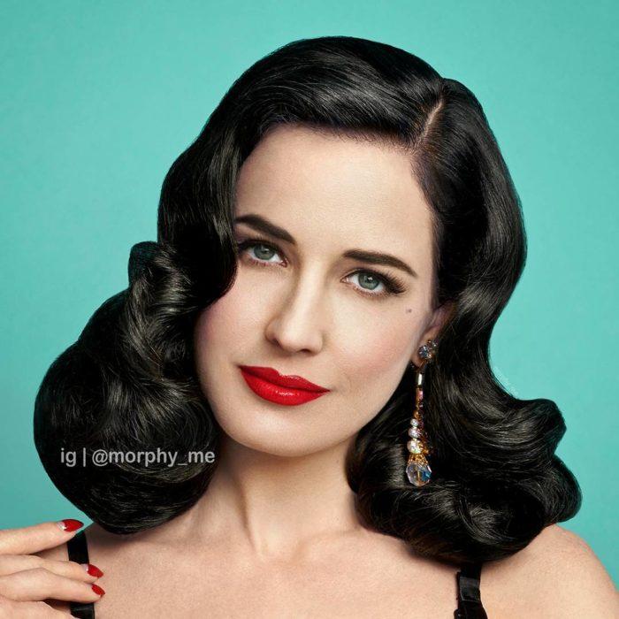 mujer blanca de cabello negro con labios rojos