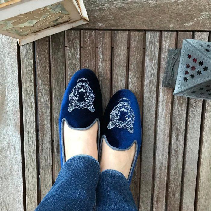 zapatos de piso de terciopelo azul
