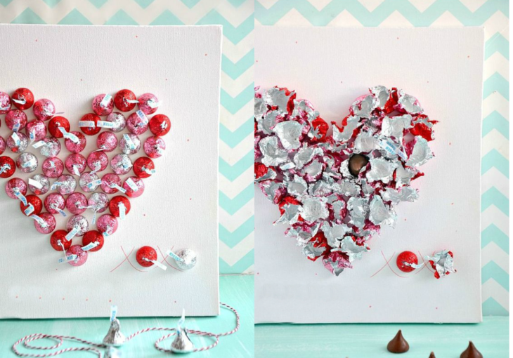 cuadro con corazón de chocolates