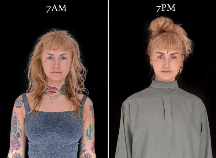 Chica rubia al despertar