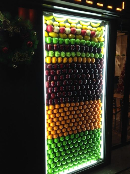 frutas por color en la nevera