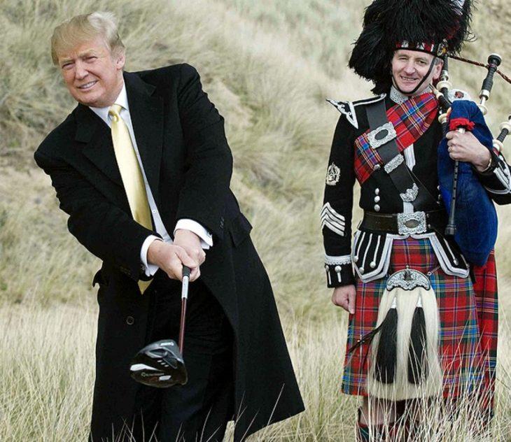 hombre blanco jugando golf y hombre escocés atrás