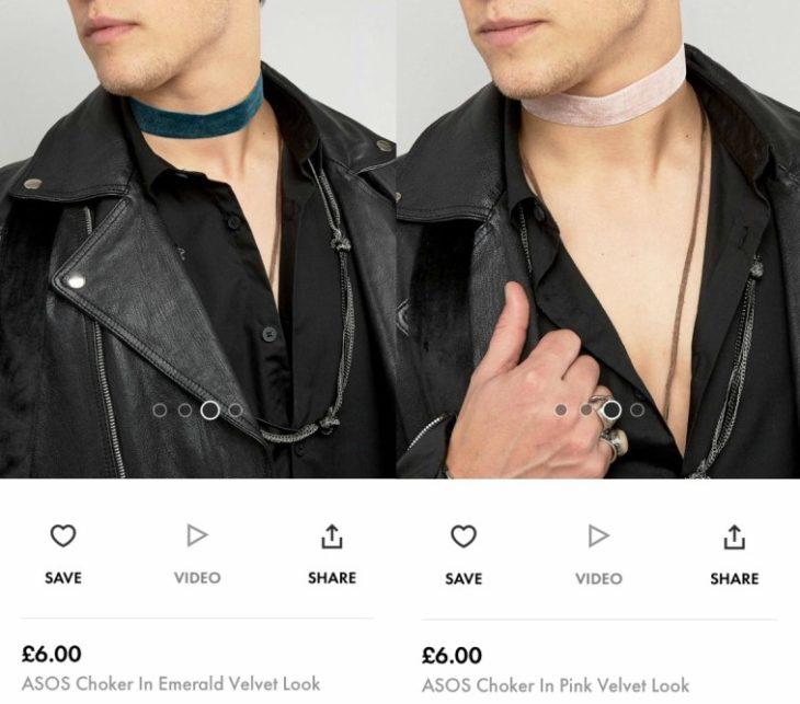 hombre con chaqueta y collar choker
