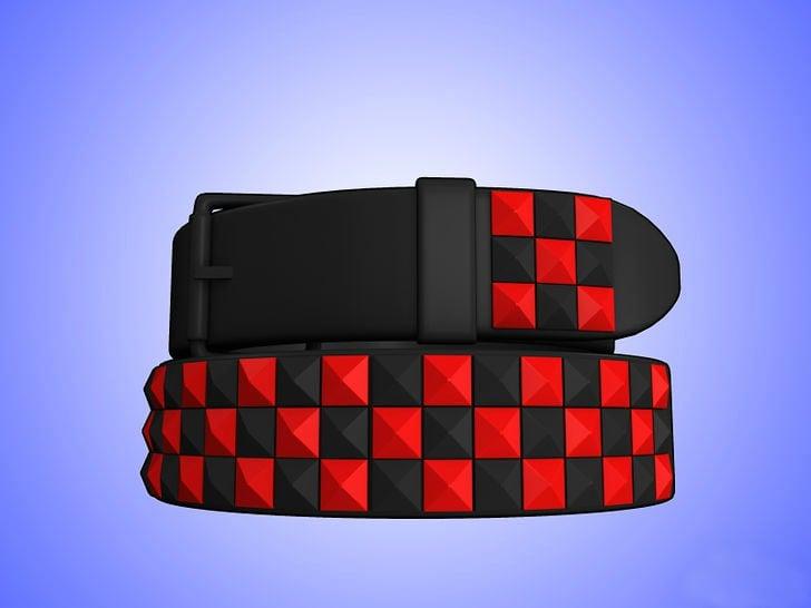 cinto de cuadros negro con rojo