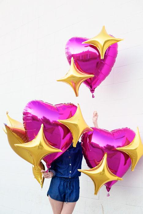 globos rosas con brillo