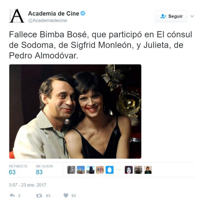 twit de la academia de cine para despedir a bimba bosé