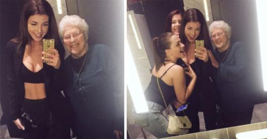 Chicas invitan a tomarse 'selfies' a señora mayor que extraña salir con amigas