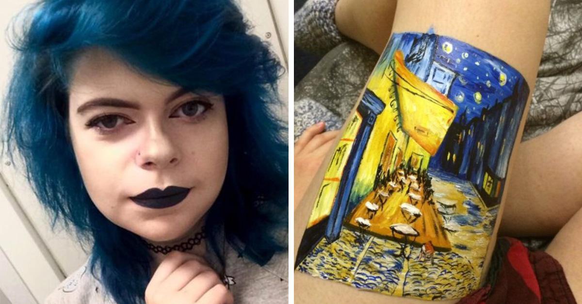 Esta chica se hizo una pintura en lugar de dañar su cuerpo