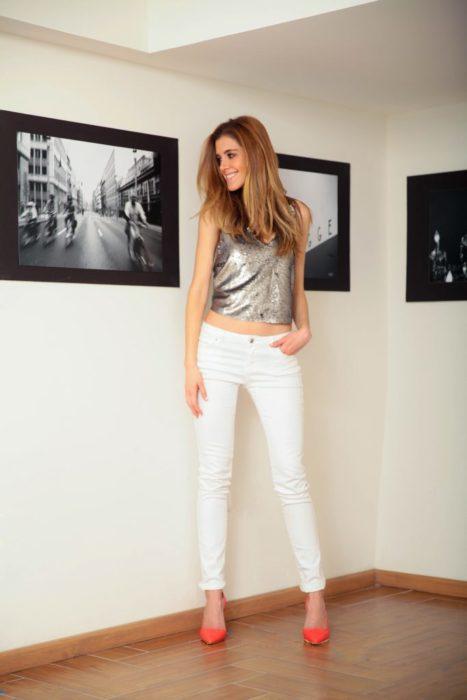 Pantalón blanco fiesta