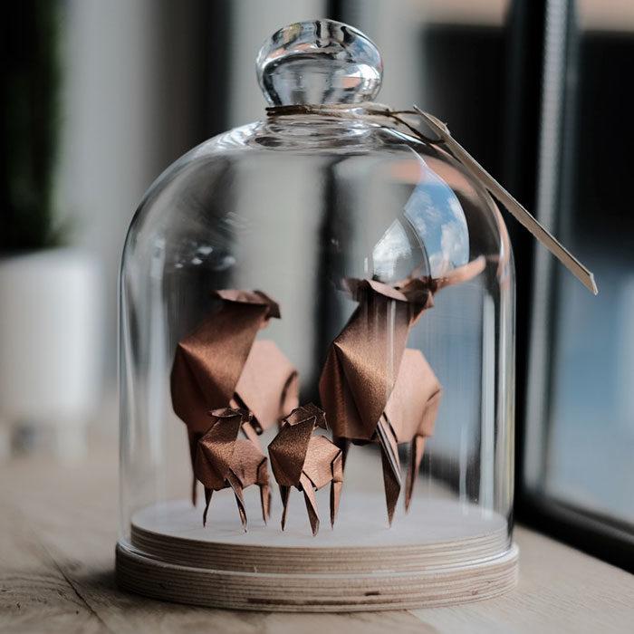 familia de alces de origami