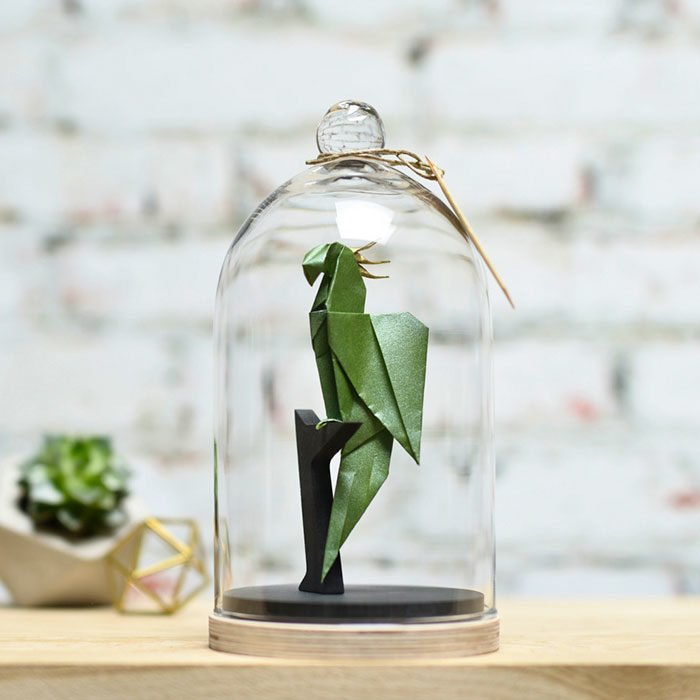 ave verde de origami