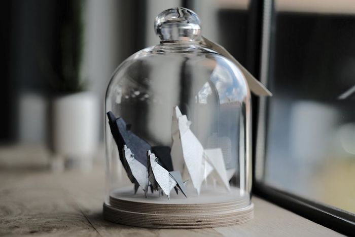 familia de lobos origami