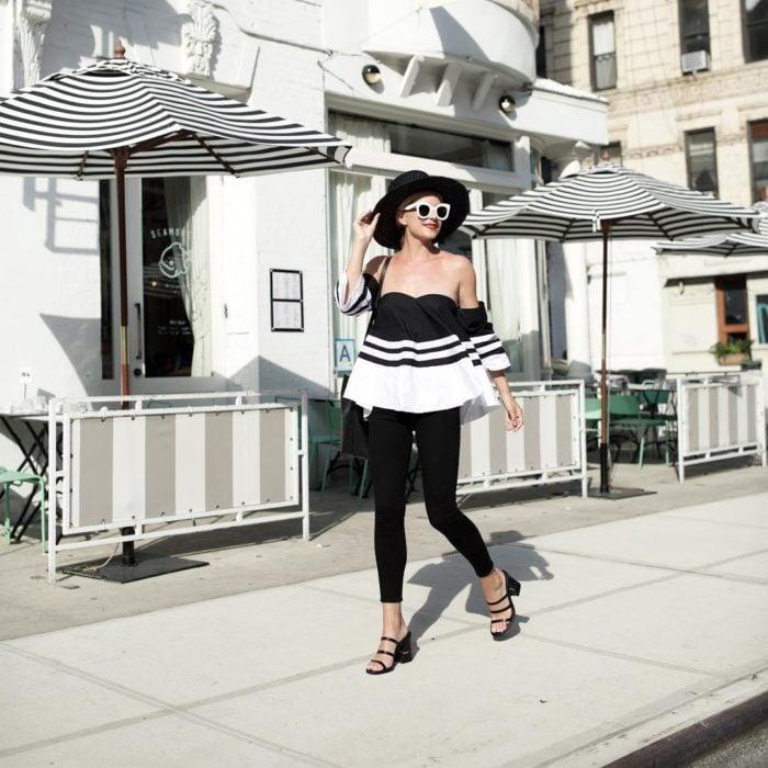 skinny jans con blusas de corte peplum