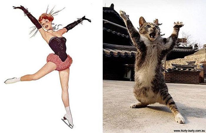 gato como chica pin-up abriendo los brazos