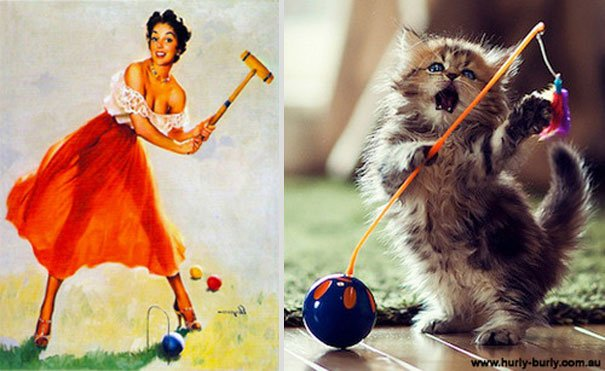 gato como chica pin-up jugando croquet