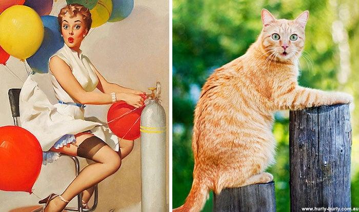 gato como chica pin-up inflando globos