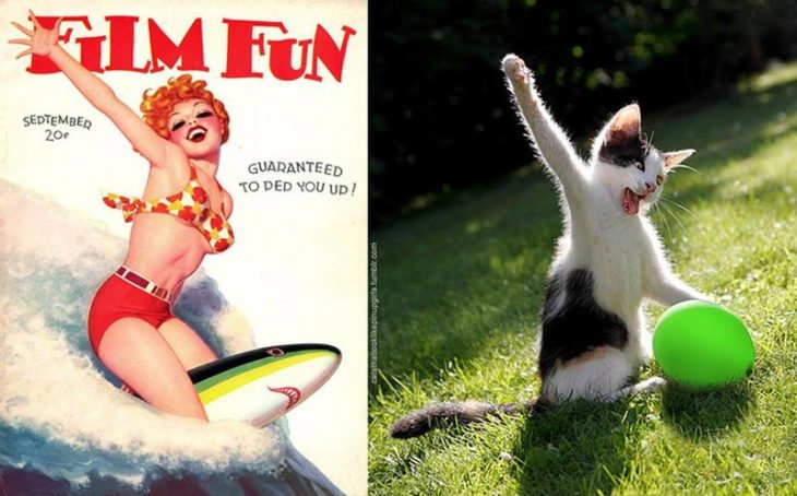 gato como chica pin-up jugando