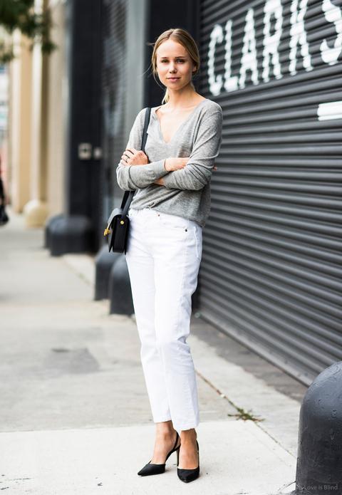 Pantalón blanco gris